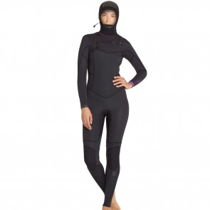 Billabong Women's Synergy 5/4 Hooded Chest Zip Wetsuit - Black Sands