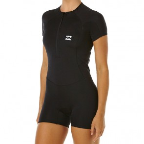 Billabong Women's Synergy Cap Sleeve Front Zip Spring Suit - Black