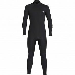 Billabong Furnace Absolute Flatlock 3/2 Back Zip Wetsuit - Black/Silver