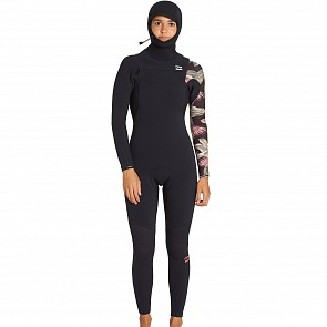 Billabong Women's Furnace Carbon 5/4 Hooded Chest Zip Wetsuit - Black
