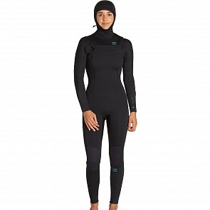 Billabong Women's Furnace Synergy 5/4 Hooded Chest Zip Wetsuit - Black