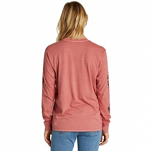 Billabong Women's Painted Logo Long Sleeve T-Shirt - Stone Rose
