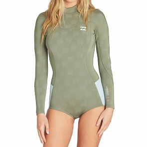 Billabong Women's Synergy 2mm Long Sleeve Back Zip Spring Wetsuit - Safari Green