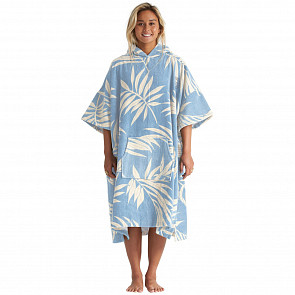 Billabong Women's Hooded Poncho - Blue Palm - Front