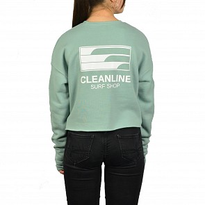 Cleanline Women's Lines Cropped Sweatshirt - Dusty Blue