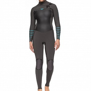 Roxy Women's Syncro Plus 3/2 Chest Zip Wetsuit - Jet Black/Heather Blue