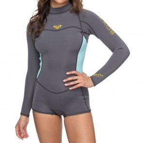 5d86352e9b Roxy Women s Syncro 2mm Long Sleeve Spring Wetsuit - Deep Grey Glicer Blue  ...