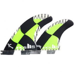FCS II Fins MB PC Carbon Tri-Quad Medium - Green/Black