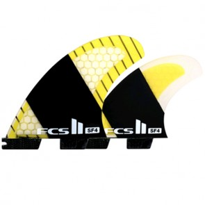 FCS II Fins SF4 Stretch PC Carbon Quad - Yellow/Carbon