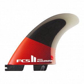 FCS II Accelerator PC Medium Tri Fin Set - Red/Black