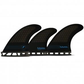Futures F4 HC Tri-Quad Fin Set - Smoke/Black/Blue