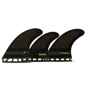 Futures Fins F6 Honeycomb Tri Quad Fin Set - Smoke/Black/Yellow