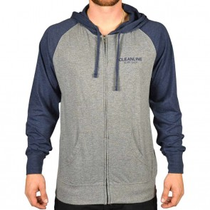 Cleanline Lines Raglan Zip Hoodie - Heather Navy