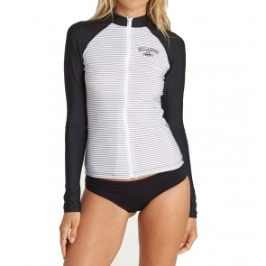 Billabong Women's Front Zip Long Sleeve Rashguard - White/Black