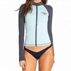 Billabong Women's Core Zip Front Long Sleeve Rash Guard - Seafoam