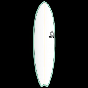 Torq Mod Fish 7'2 x 22 1/2 x 3 Surfboard - Seagreen/White - Top
