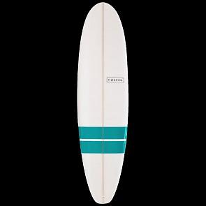 Modern Blackbird Surfboard - Teal Bands - Deck