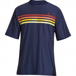 Billabong Team Stripe Loose Fit Short Sleeve Rash Guard - Navy - Front