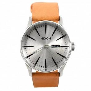 Nixon Sentry Leather Watch - Silver/Tan
