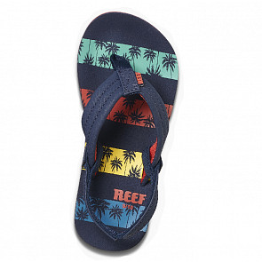 Reef Youth Little Ahi Sandals - Navy Palm Stripe - Top