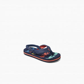 Reef Youth Little Ahi Sandals - Navy Palm Stripe