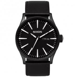 Nixon Sentry Leather Watch - Black/White