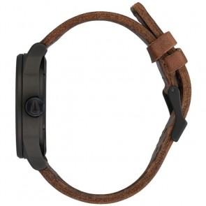 Nixon Sentry Leather Watch - Black/Lum/Taupe