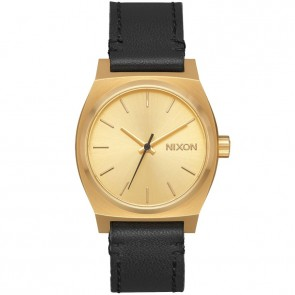 Nixon Medium Time Teller Leather Watch - Gold/Black