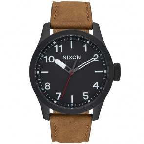 Nixon Safari Leather Watch - All Black/Surplus