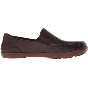 Olukai Puhalu Leather Loafers - Dark Wood/Toffee