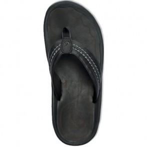 Olukai Hokua Leather Sandals - Black