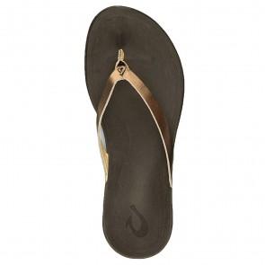 Olukai Women's Ho'opio Leather Sandals - Bronze/Dark Java