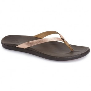 Olukai Women's Ho'opio Leather Sandals - Copper/Dark Java
