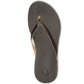 Olukai Women's Ho'Opio Leather Sandals - Onyx/Black