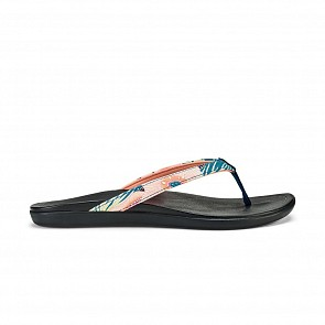 Olukai Women's Ho'Opio Sandals - Teal Coral/Black