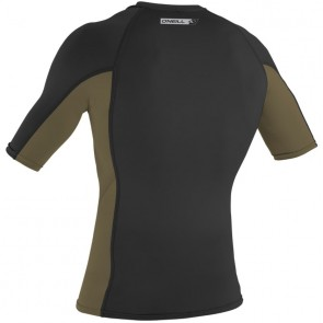 O'Neill Wetsuits Premium Skins Short Sleeve Rash Guard - Black/Khaki