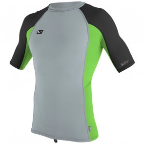O'Neill Wetsuits Premium Skins Short Sleeve Rash Guard - Cool Grey/Dayglo/Black