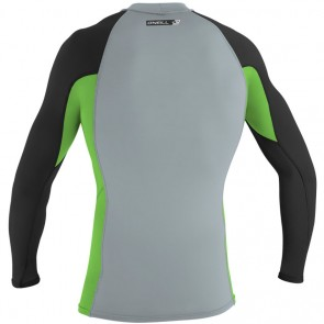 O'Neill Wetsuits Premium Skins Long Sleeve Crew Rash Guard - Cool Grey/Dayglo/Black