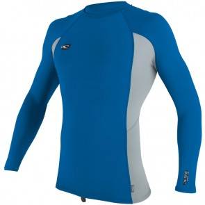 O'Neill Wetsuits Premium Skins Long Sleeve Crew Rash Guard - Ocean/Cool Grey