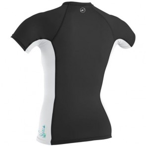 O'Neill Wetsuits Women's Skins Short Sleeve Rash Guard - Black/White