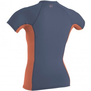 O'Neill Wetsuits Women's Premium Skins Short Sleeve Rash Guard - Mist/Coral Punch