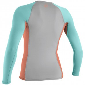 O'Neill Wetsuits Women's Skins Long Sleeve Crew - Lunar/Grapefruit/Seaglass