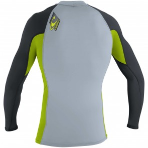 O'Neill Wetsuits Youth Skins Long Sleeve Rash Guard - Fog Blue/Lime/Graphite