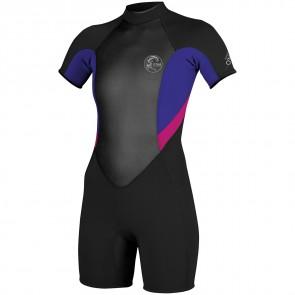 O'Neill Women's Bahia 2/1 Short Sleeve Spring Wetsuit - Black/Cobalt/Berry