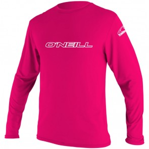O'Neill Wetsuits Youth Basic Skins Long Sleeve Rash Tee - Watermelon
