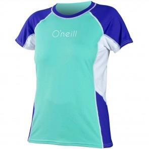 O'Neill Women's Colorblock Short Sleeve Rash Tee - Spyglass/Cobalt/White