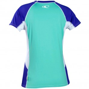 O'Neill Women's Colorblock Short Sleeve Rash Tee - Spyglass/Cobalt/White