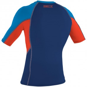 O'Neill Wetsuits Skins Graphic Short Sleeve Crew - Bright Blue/Neon Red/Navy