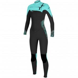 O'Neill Women's SuperFreak 4/3 Chest Zip Wetsuit - Black/Aqua/Grapefruit