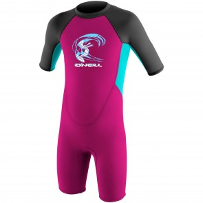 O'Neill Toddler Girls Reactor 2mm Spring Wetsuit - Berry/Aqua/Graphite